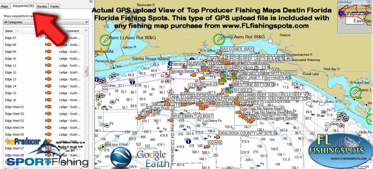 Destin Florida Fishing Spots for GPS
