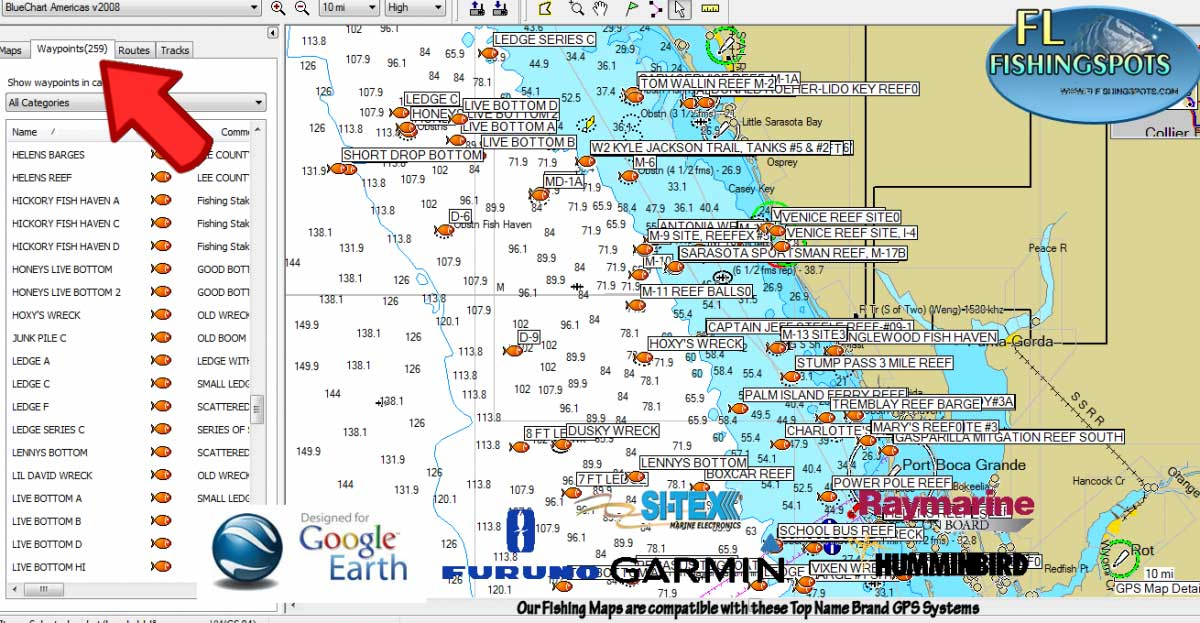 Florida Reefs And Wrecks Map.Florida Fishing Maps With Gps Coordinates Florida Fishing Maps For Gps