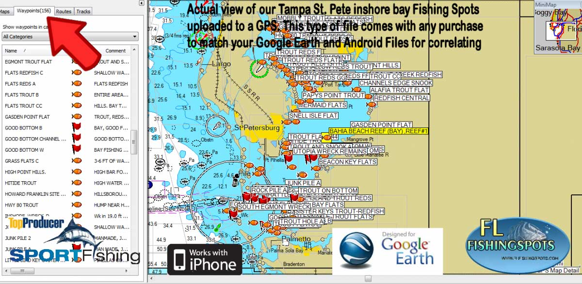 tampa bay fishing map florida fishing maps for gps