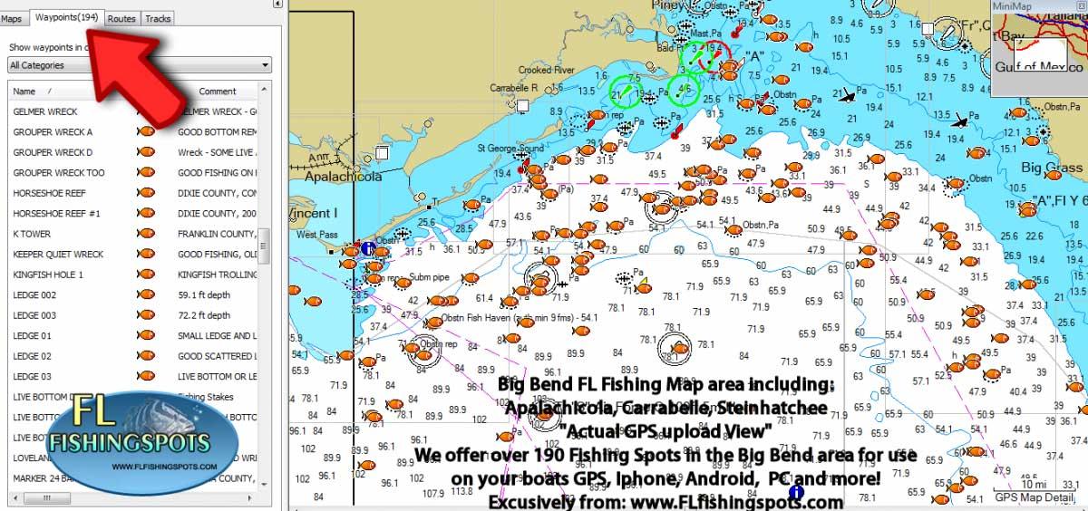 Apalcachicola Florida Fishing Spots for GPS