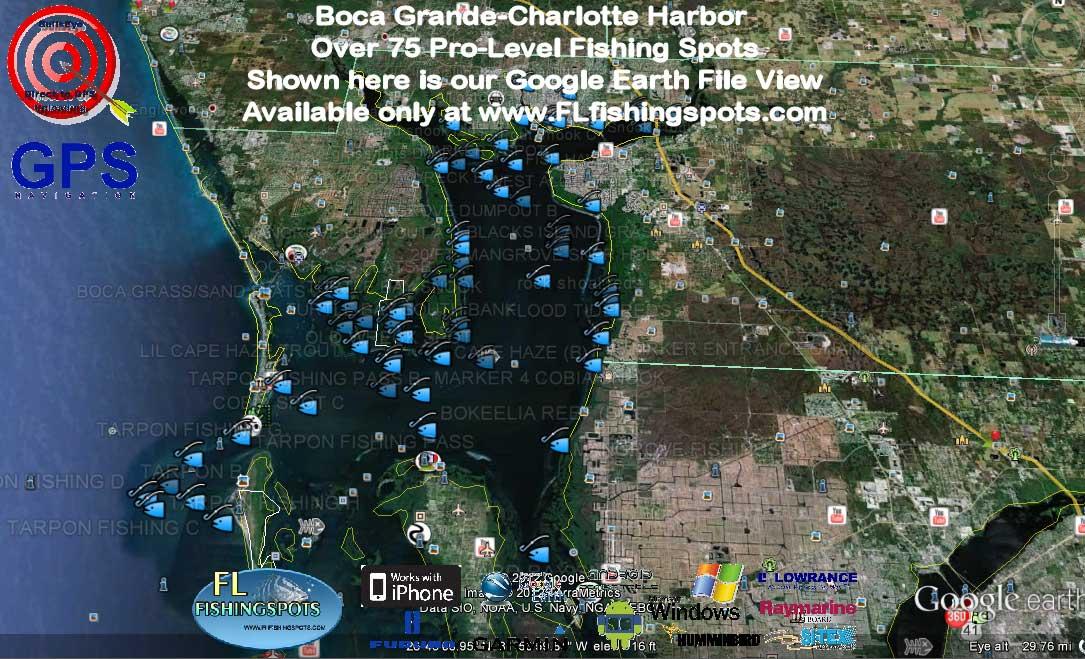 Florida fishing maps with gps coordinates florida for Boca grande fishing