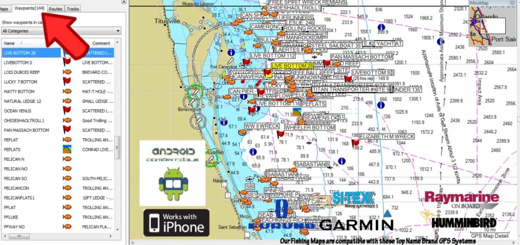 Florida fishing maps with gps coordinates florida for St augustine fishing spots