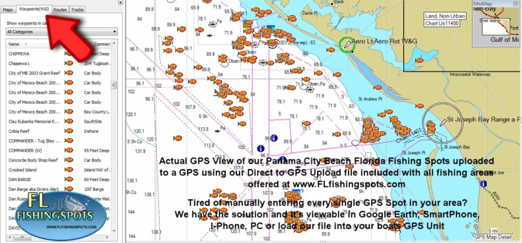 Florida fishing maps with gps coordinates florida for Best fishing spots in florida