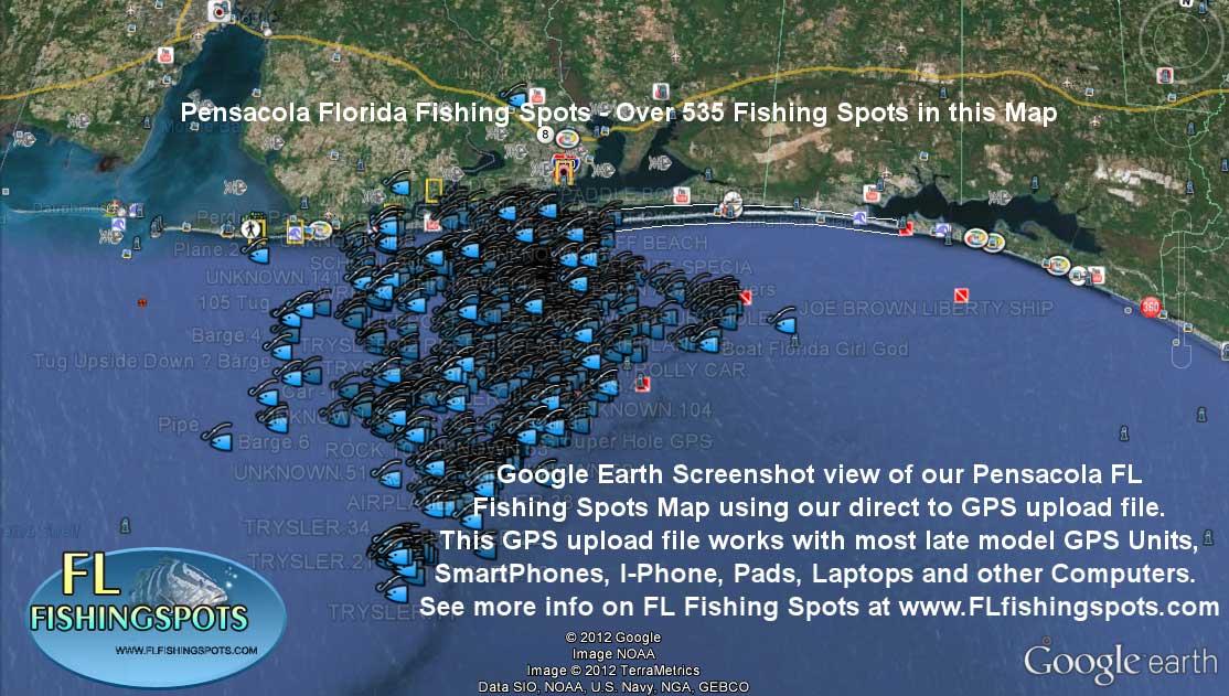 Pensacola Florida Fishing Map