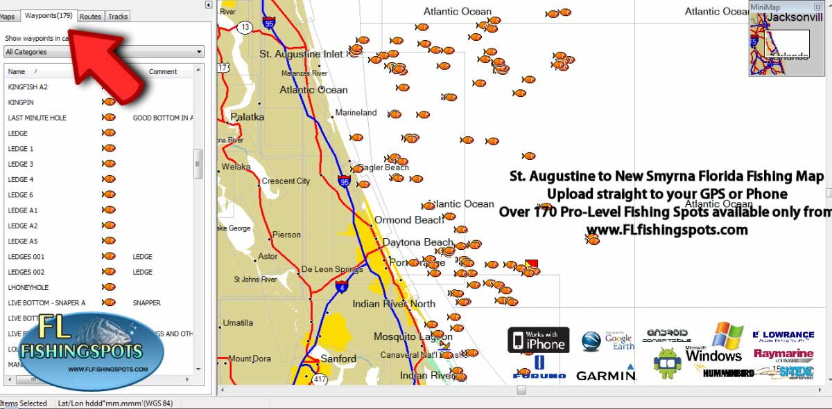 St Augstine Florida Fishing Spots Map For Gps