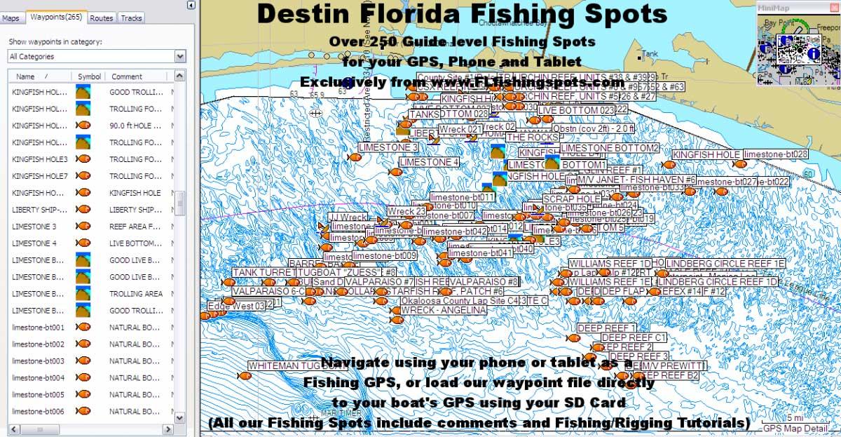 Destin Florida Fishing Map Florida Fishing Maps For Gps