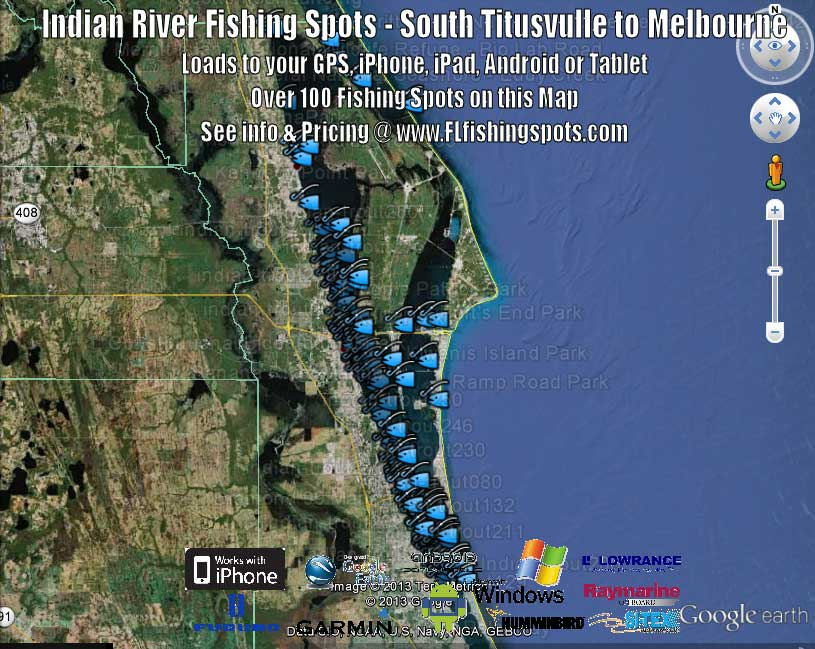 Indian River Fishing Map and Fishing Spots