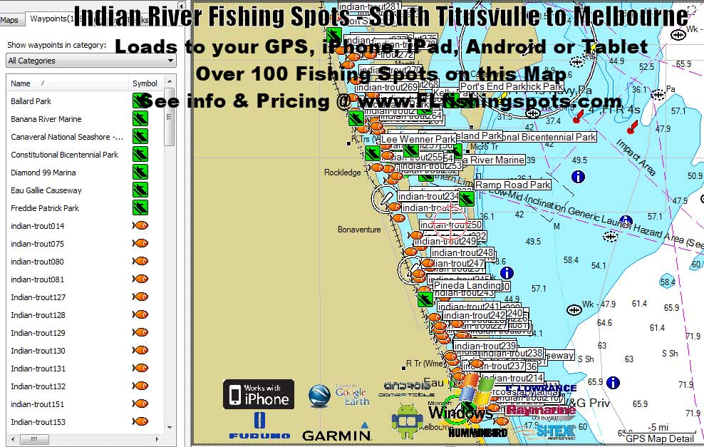 Indian river fishing maps titusville to melbourne for Best fishing spots in florida