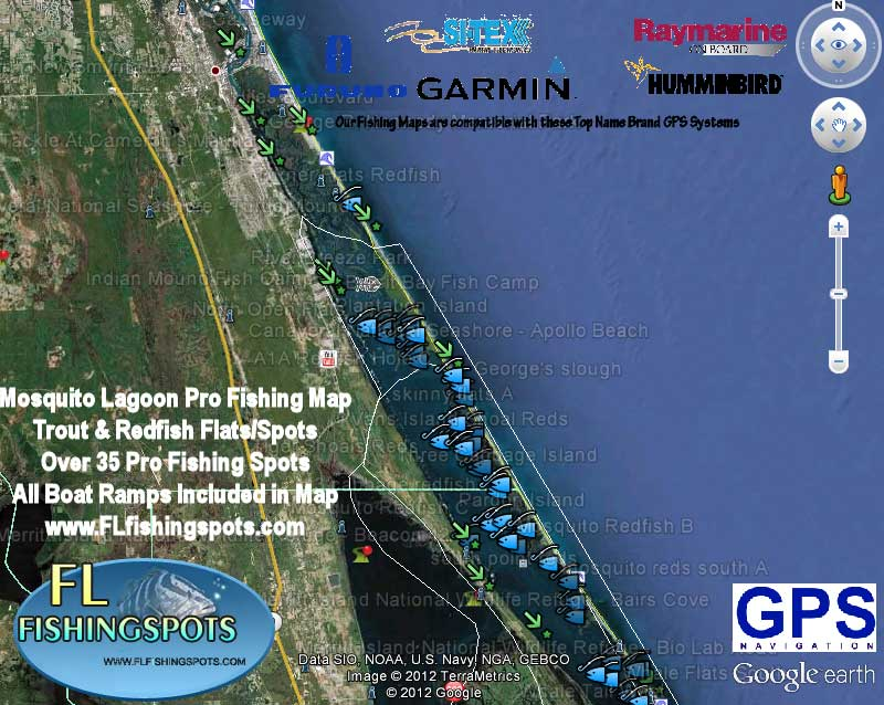 Mosquito Lagoon Fishing Map Florida Fishing Maps For Gps