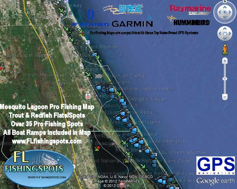 Mosquito lagoon fishing map florida fishing maps for gps for Florida fishing app