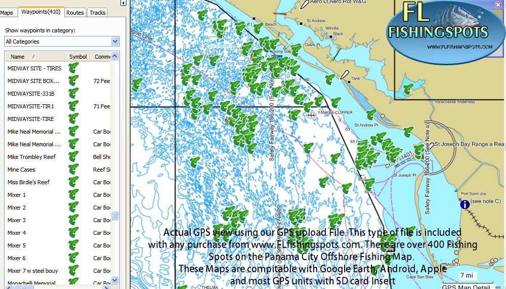 Panama City Fishing Spots Florida Fishing Maps For Gps