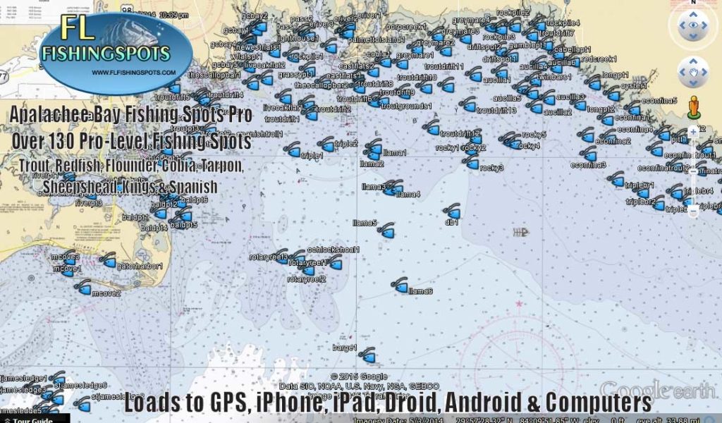 Apalachee bay fishing map florida fishing maps for gps for Bay area fishing spots