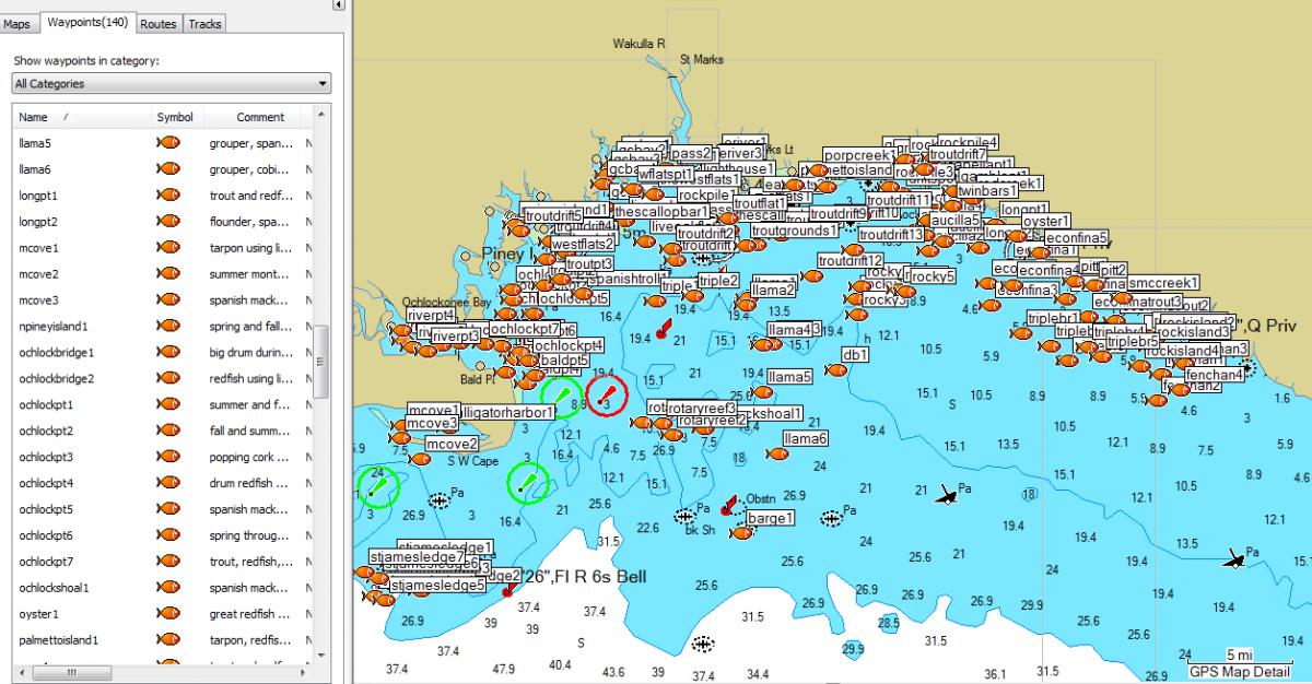 Apalachee Bay Fishing Spots for GPS