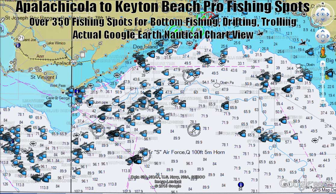 Apalachicola fishing map and fishing spots for gps for Best fishing spots in florida