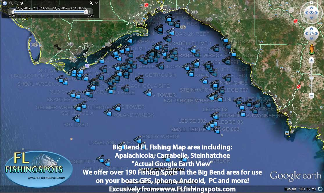 Florida fishing maps with gps coordinates florida for Bay area fishing spots