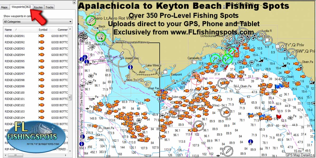 Apalachicola fishing map and fishing spots for gps for Steinhatchee fl fishing