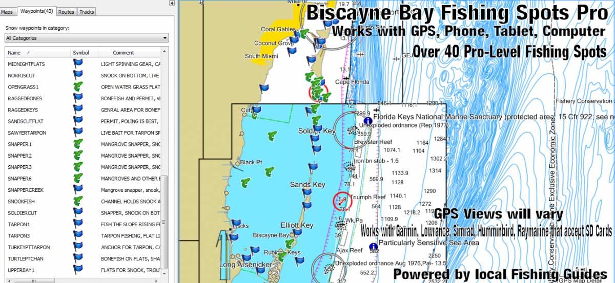 Biscayne bay fishing spots florida fishing maps for gps for Biscayne bay fishing