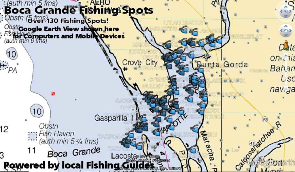 Boca grande and charlotte harbor fishing map florida for Fishing spots in florida