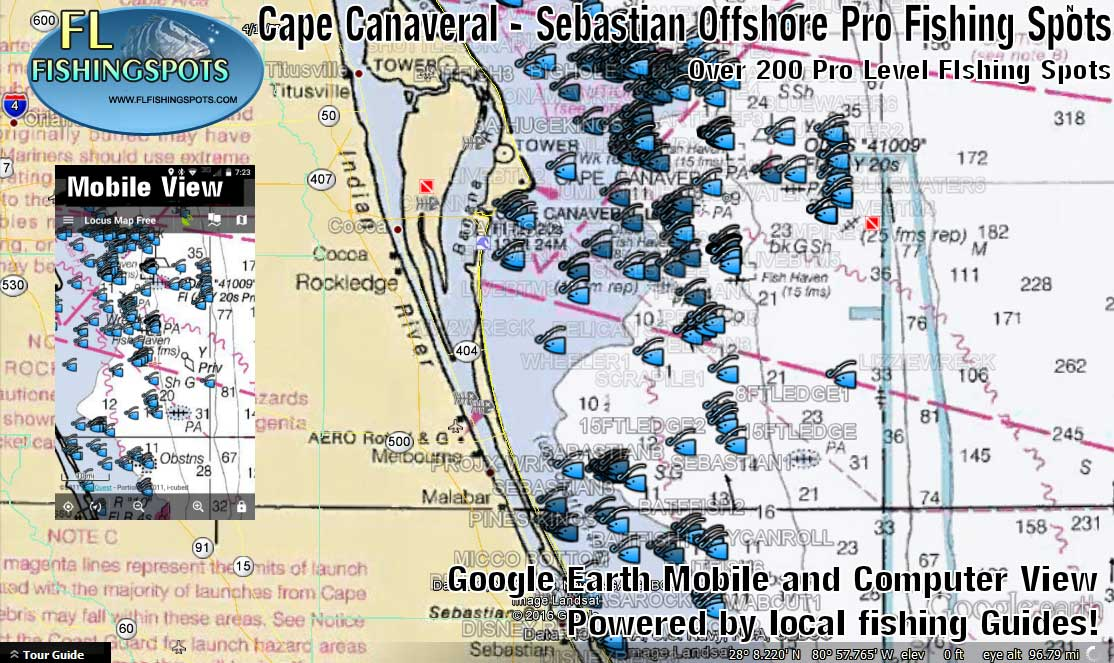Cape canaveral to sebastian inlet fishing map florida for Port canaveral fishing