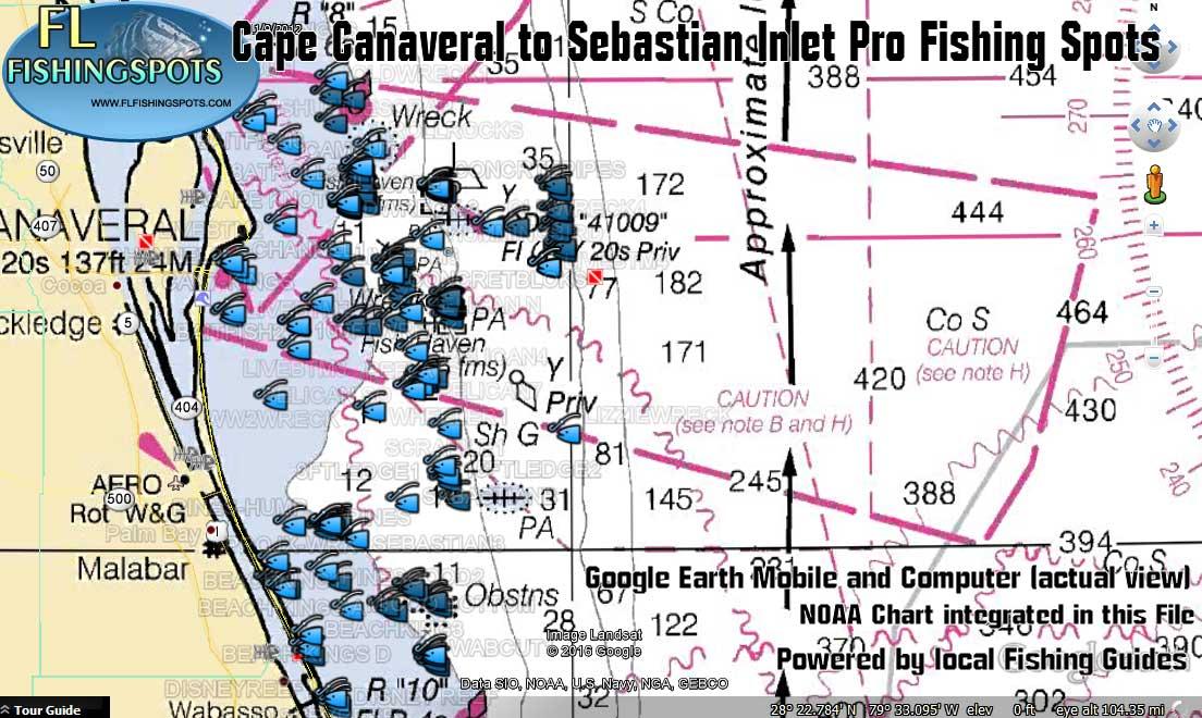 Cape canaveral fishing spots florida fishing maps for gps for Cape canaveral fishing