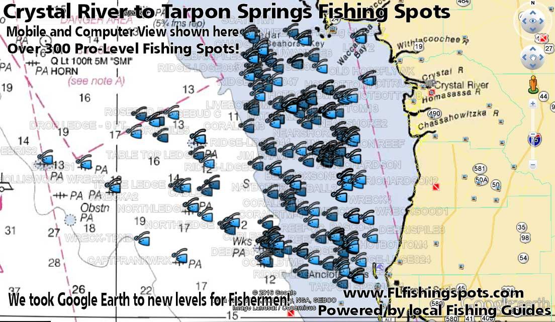 Crystal river fishing spots florida fishing maps for gps for Fishing spots in florida