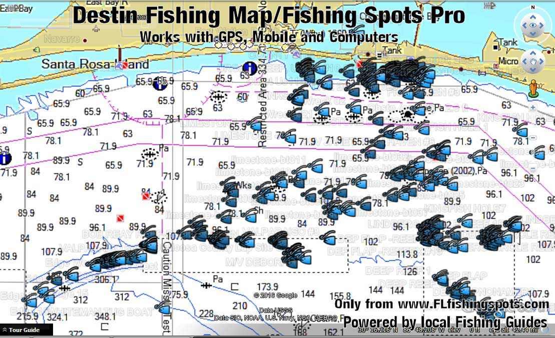 Destin Florida Fishing Map | Florida Fishing Maps for GPS