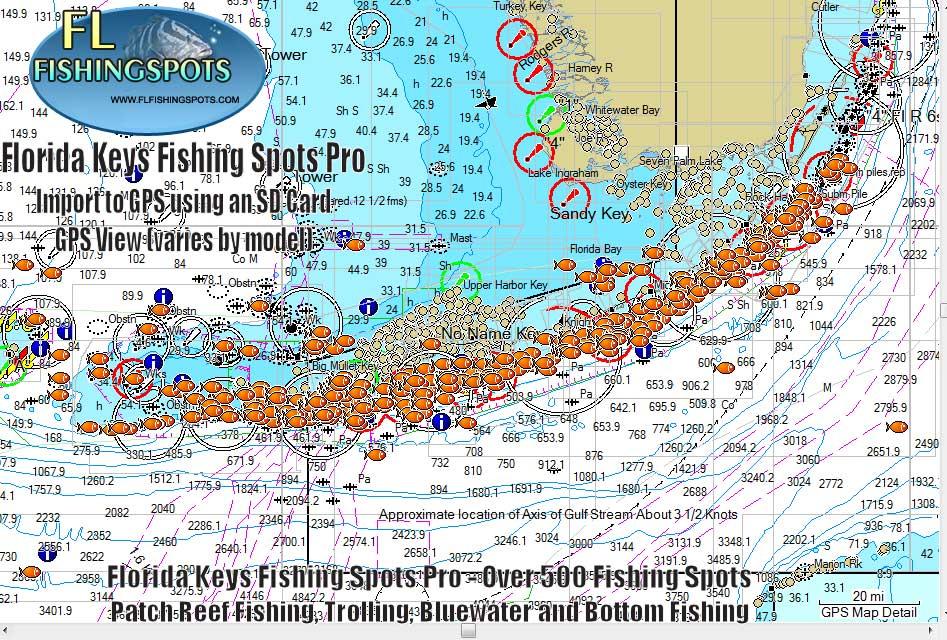 Florida keys gps fishing spots map monroe county fishing for Fishing marathon fl