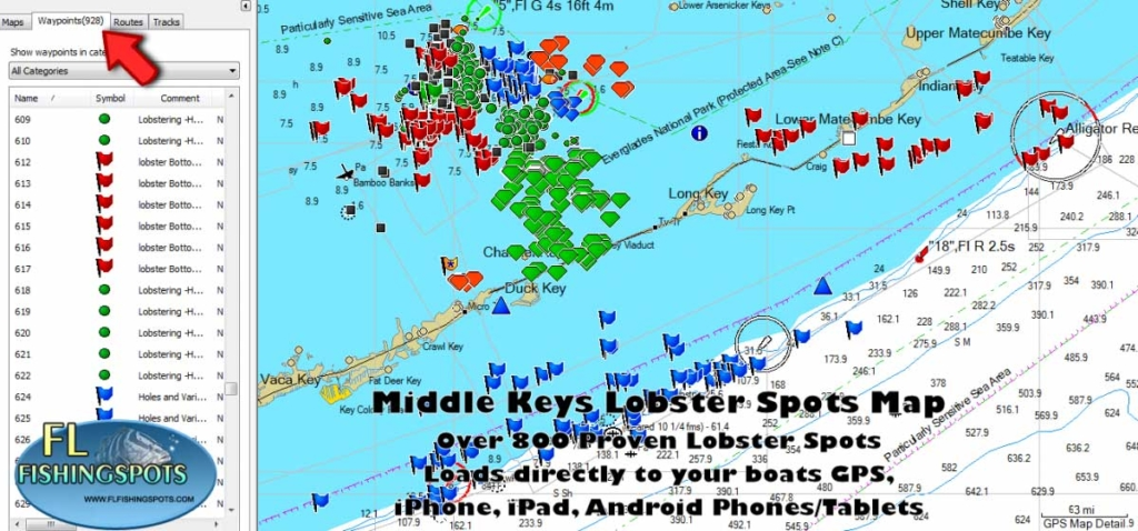 Florida keys lobster map florida fishing maps for gps for Best fishing spots in florida