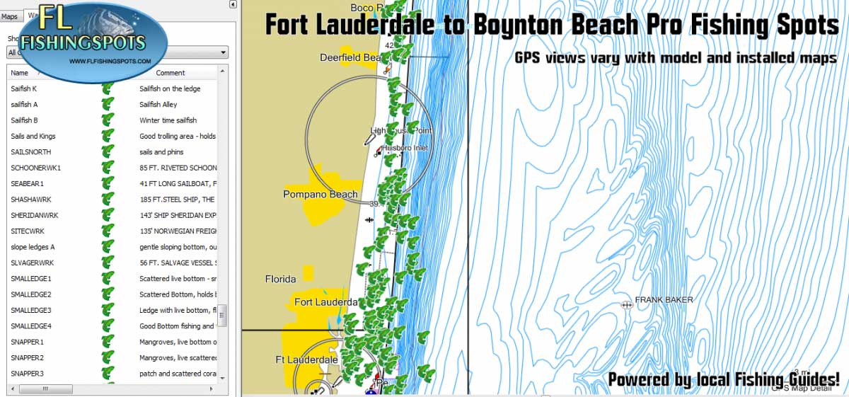 Fort Lauderdale Fishing Spots Map for GPS