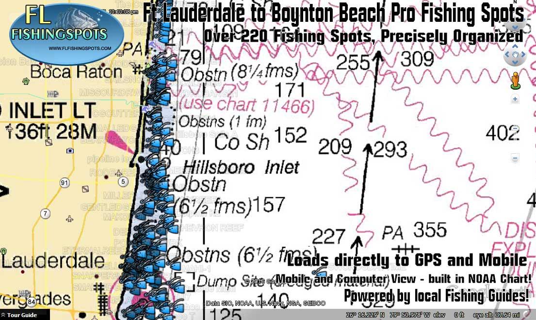 Fort lauderdale to boynton beach fishing map florida for Boynton beach fishing