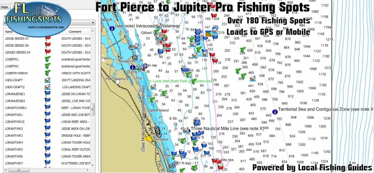 Fort Pierce And Jupiter Florida Fishing Maps Florida
