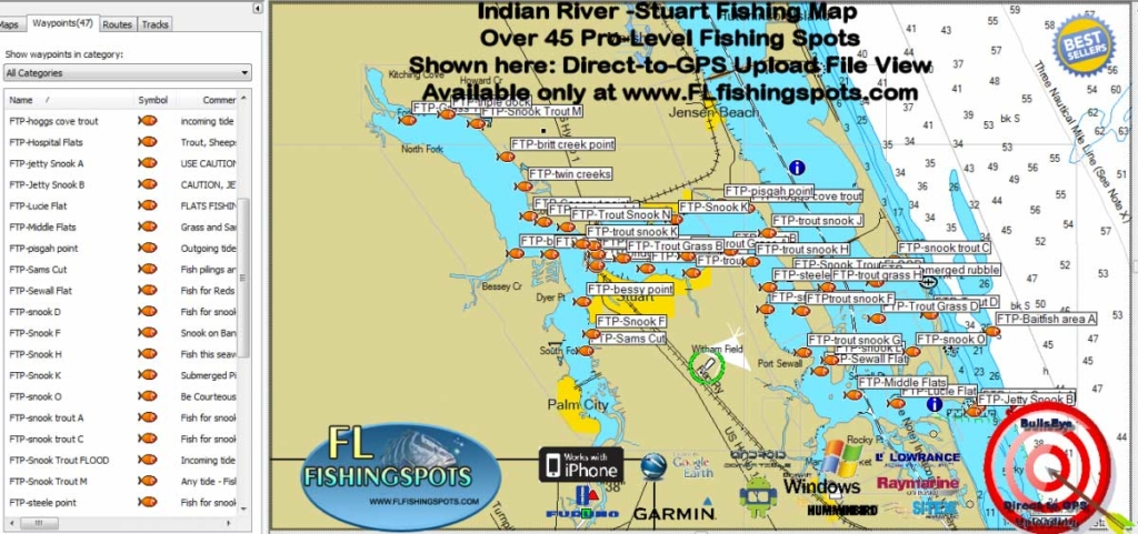 St lucie river fishing map with gps coordinates florida for Indian river florida fishing