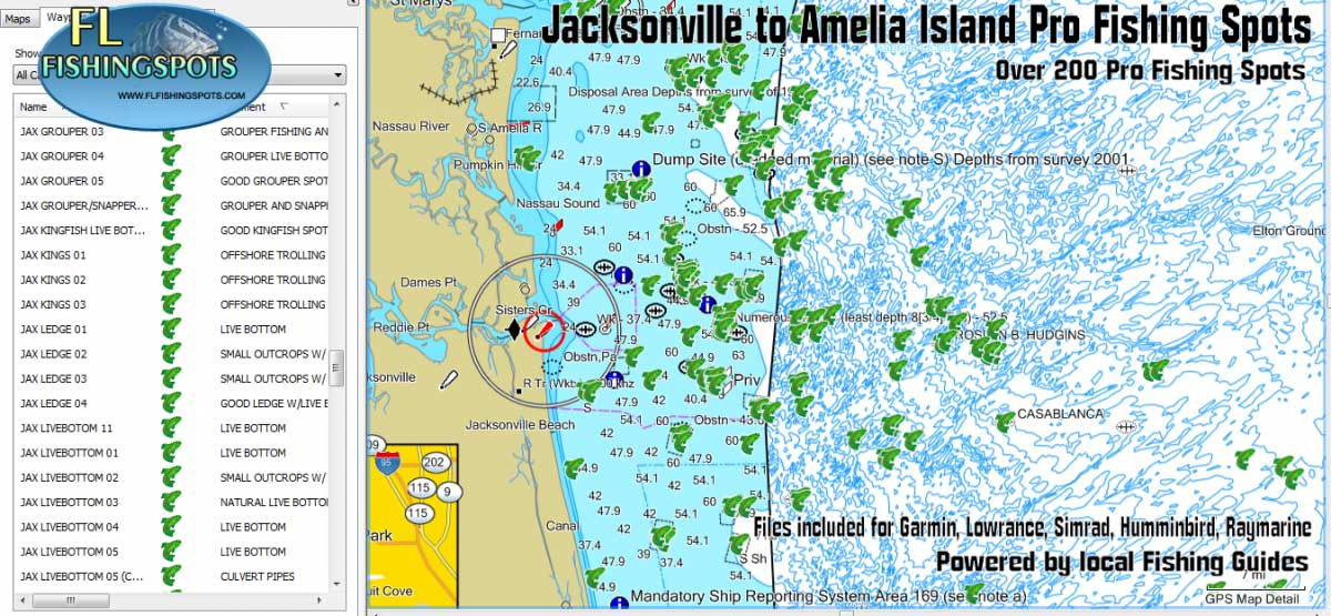jacksonville florida fishing map and fishing spots fl