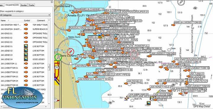 Jacksonville Florida Fishing Map | Florida Fishing Maps for GPS