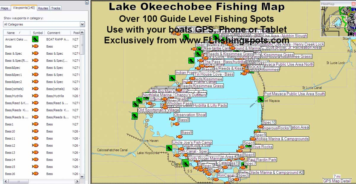 Lake okeechobee fishing map florida fishing maps for gps for Free fishing samples 2017