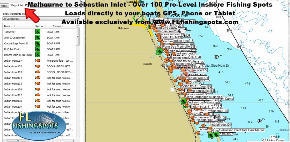Melbourne Florida to Sebastian Inlet Florida Fishing Spots