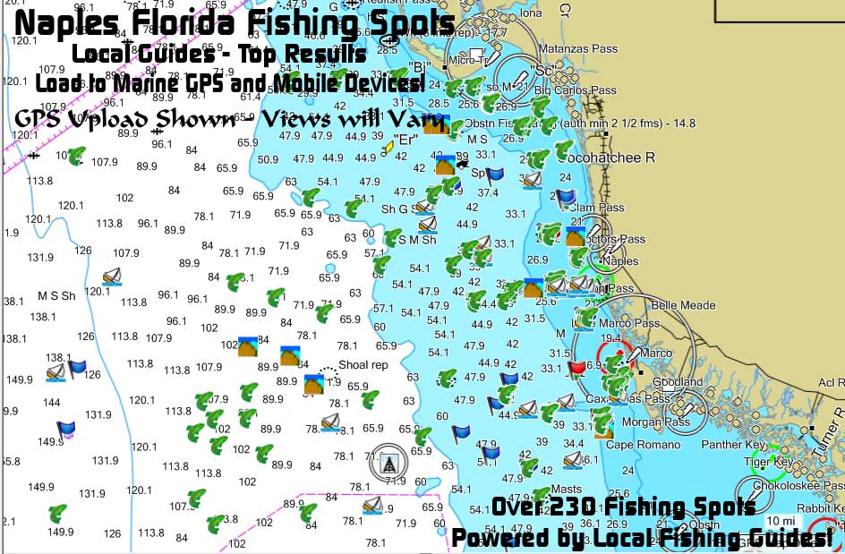 Naples florida fishing map and fishing spots for gps for Best fishing spots in florida