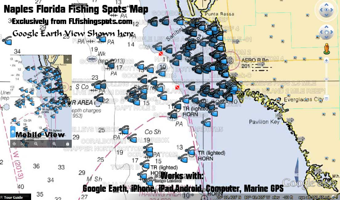 Naples florida fishing map and fishing spots for gps for Fish naples fl