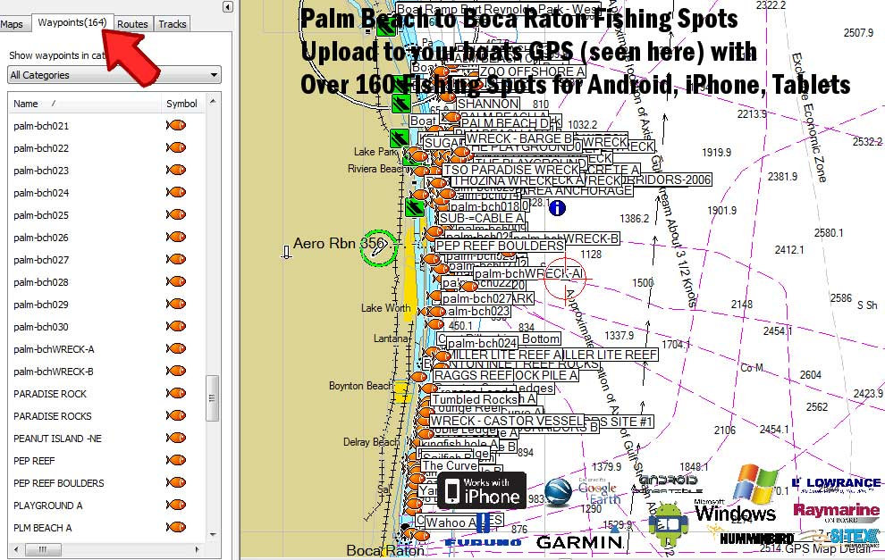 Palm Beach Florida Fishing Spots for GPS