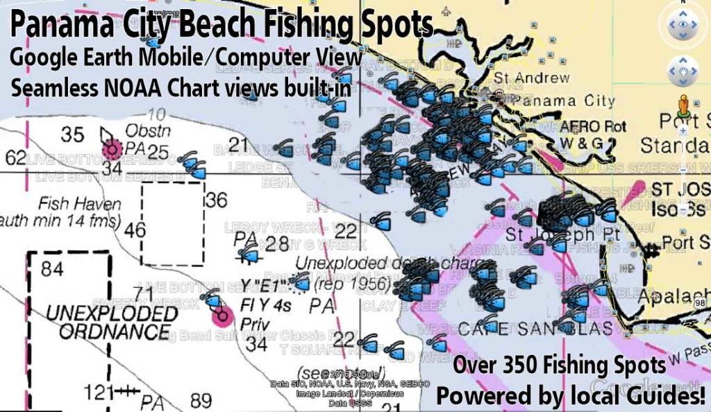 Panama city fishing map with gps coordinates florida for Panama city florida fishing