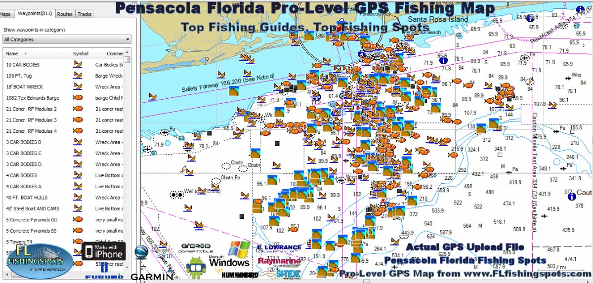 Pensacola fishing map florida fishing maps for gps for Best fishing spots in florida
