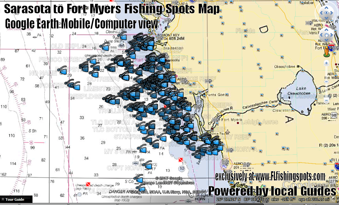 Sarasota to Fort Myers Fishing Spots Map