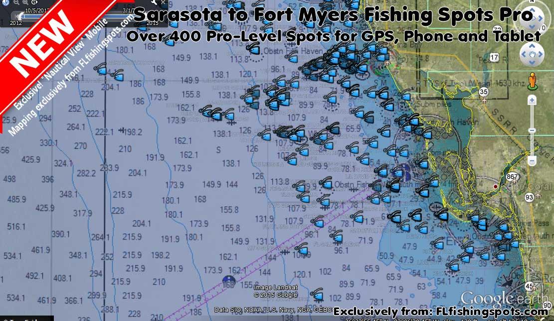 Sarasota Florida Lee County Fishing Spots Map