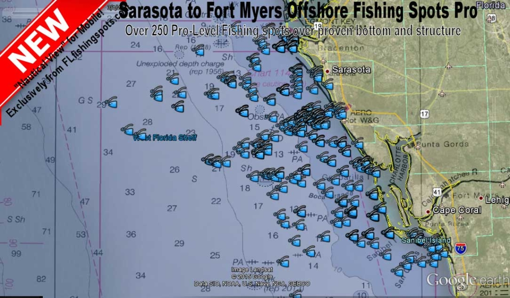 sarasota to fort myers offshore fishing map florida