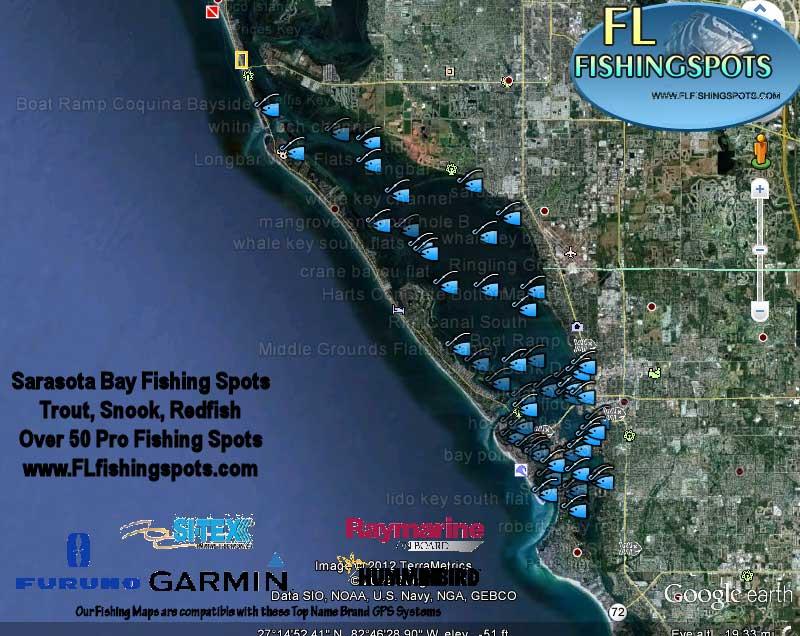 Sarasota bay fishing map with gps coordinates florida for Sarasota florida fishing