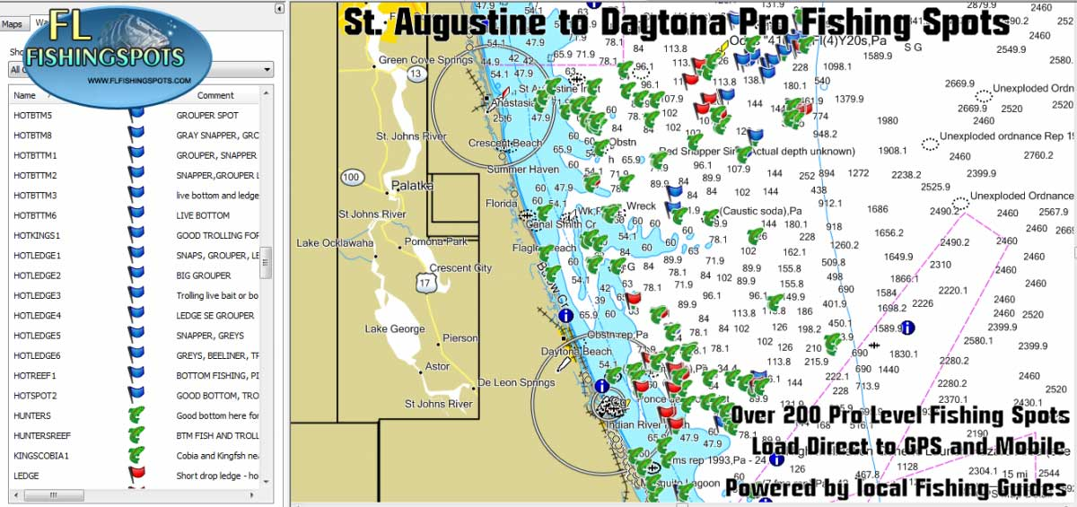 St Augustine Florida Gps Fishing Spots Florida Fishing Maps For Gps