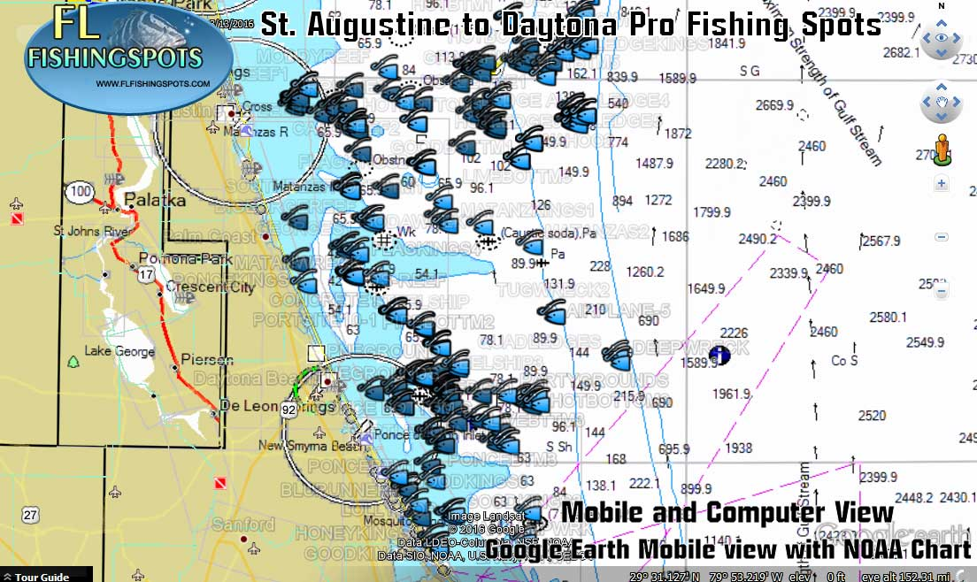 Map Of St Augustine Florida.St Augustine Florida Gps Fishing Spots Florida Fishing Maps For Gps