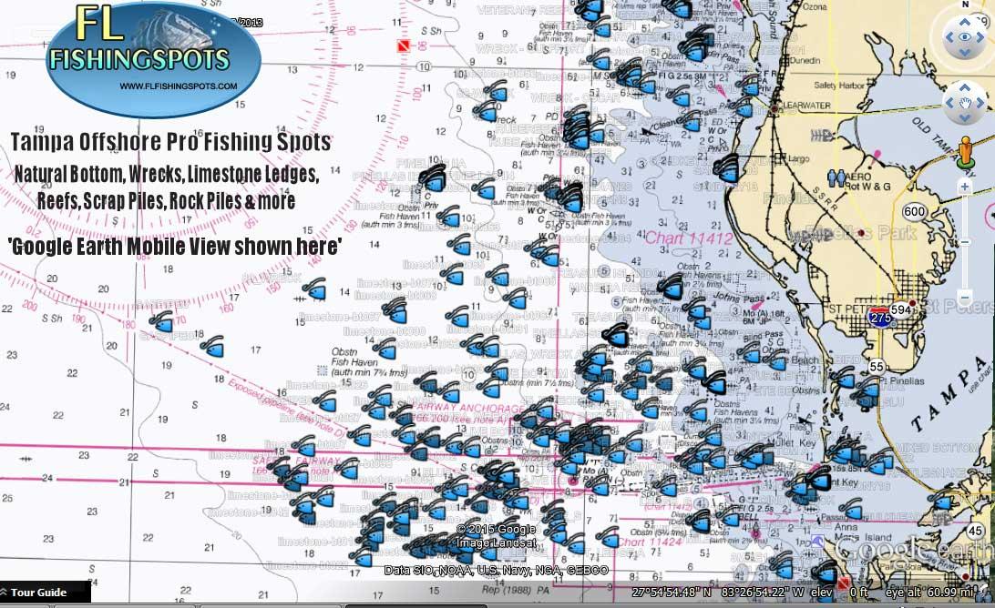 Tampa florida offshore fishing map florida fishing maps for Best fishing spots in florida