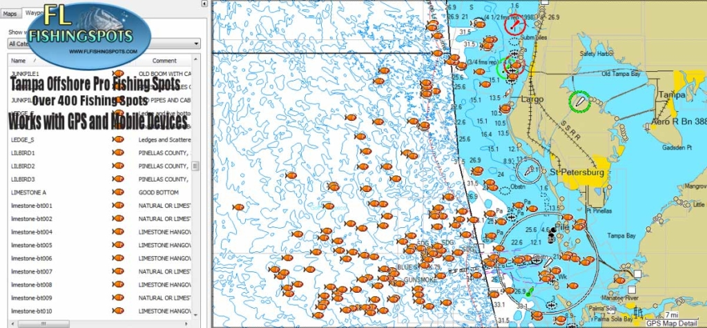Tampa florida offshore fishing map florida fishing maps for Fishing spots app