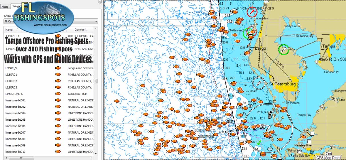 Tampa florida offshore fishing map florida fishing maps for Fishing spots in florida